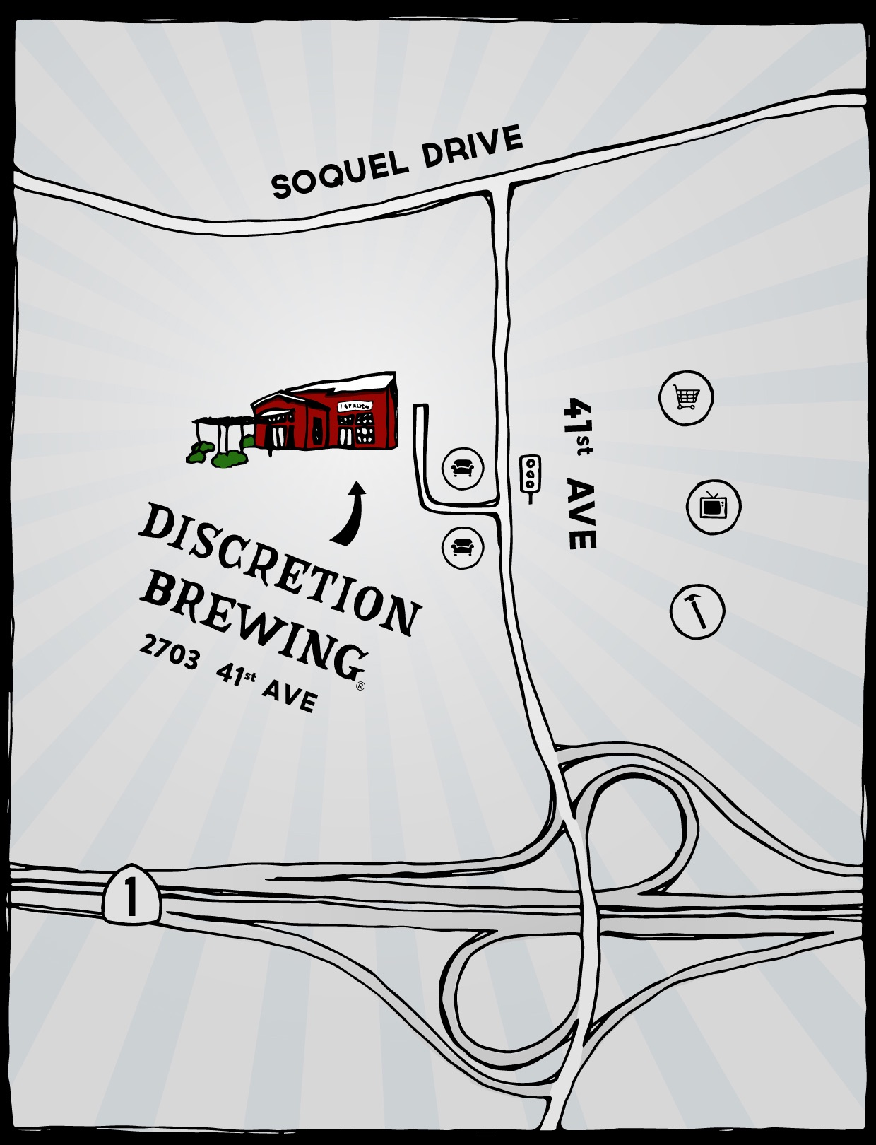 Illustrated map of of Discretion Brewing locaiton