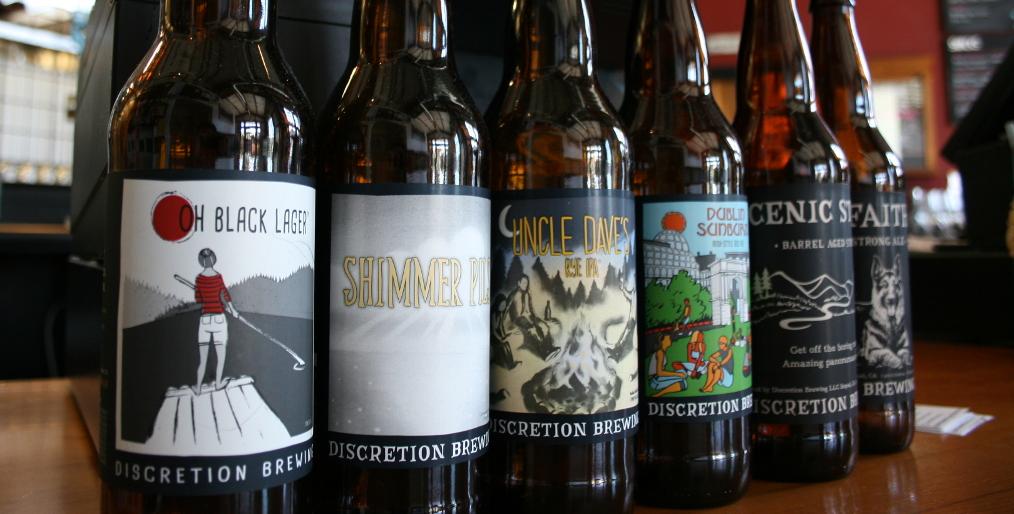 Bottled beer at Discretion Brewing